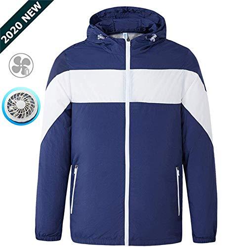 ZWPY Sonnenstich Kleidung Workwear Sonnenschutz Jacke Mit 2 Ventilatoren für Outdoor Angeln, Sport, Bergsteigen, Fahrräder,Cooling Sportswear,B,XL