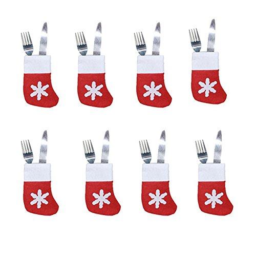 Shuda Set di posate di argenteria natalizie con portaposate, coltelli e forchette da tavola, decorazione per la casa per festa di Natale, 8pcs