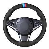 MDHANBK Cubierta de Volante de Coche de Gamuza Negra Cosida a Mano DIY, para BMW E64 2004-2010 E60 E61 (Touring) 530d E63 2003-2010 Accesorios de Volante de Coche