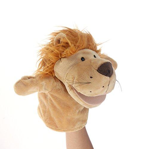 NUOBESTY Marioneta de peluche de león, diseño de dibujos animados, color amarillo