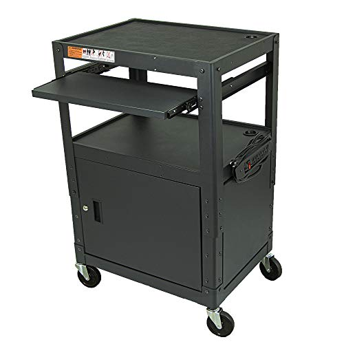 Height Adjustable Steel Frame AV Cart with Keyboard Tray - Comes with Locking Cabinet and 5ft 9in Power Strip