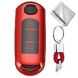 Key Protection Shell Auto Schlüssel Hülle Key Cover Case Etui Silikon mit Schlüsselanhänger Für Mazda CX-9 CX-7 CX-5 CX-4 Mazda 8 6 3 MX5 3 Buttons Rot