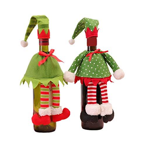 Okngr Fundas para botellas de vino de Navidad, paquete de 2 bolsas para botellas de vino de Navidad, bolsas de vino de Papá Noel, bolsas de vino de yute con cordón para decoración de mesa de cena