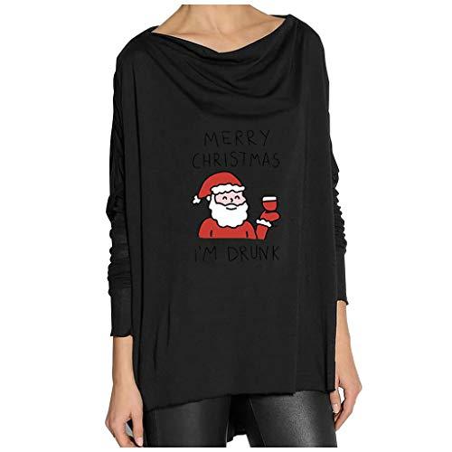 ReooLy - Vestido de Manga Larga con Estampado de patrón de día de Navidad para Mujer(Un Negro,XXL)