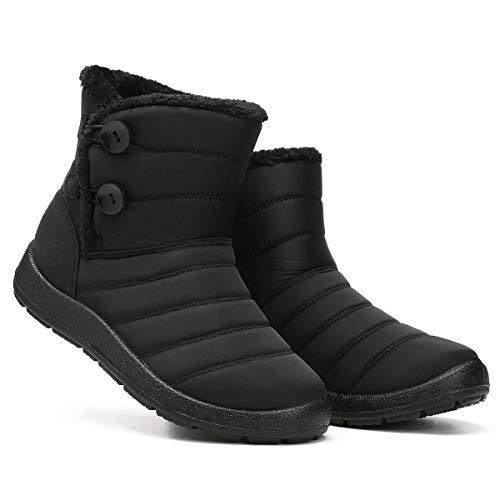 Camfosy Botas de Invierno para Mujer, Botas de Nieve Botas Impermeables con Botones Lluvia después de Esquiar Zapatos de Piel Plana Cálido para Caminar Caminar Chicas