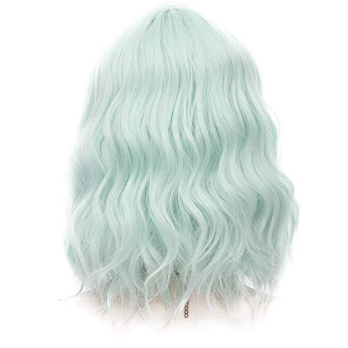 Probeauty Sweety Collection Lolita 40CM Short Curly Wig Fashion Women Cosplay Wigs + Wig Cap (Mint Green F12A)