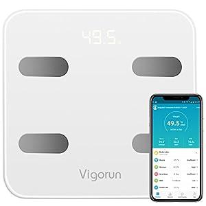 Vigorun Báscula de Baño, Bluetooth Báscula Digital Grasa Corporal con 17 Indicadores de Medición Inteligente Balanza Peso Baño con APP para Músculo, IMC, BMR, Tasa de proteína, Masa Ósea, max 180kg