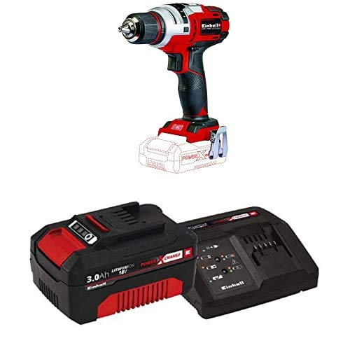 Einhell TE-CD Power X-Change 18-Volt Cordless 1400-RPM, Variable-Speed Drill/Driver, w/ 1/2-Inch Keyless Chuck, 407 In-LB Torque Selector, LED, Metal Gears, Kit (w/ 3.0-Ah Battery + Fast Charger)