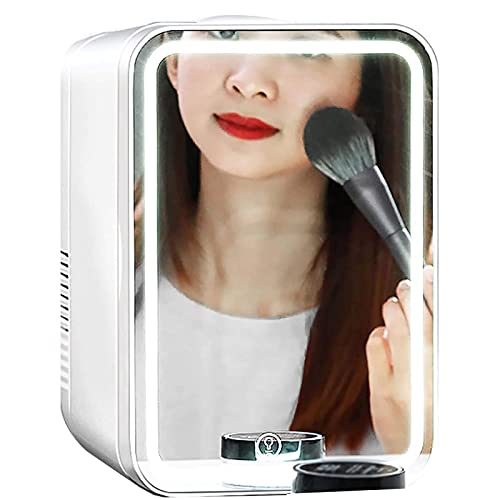 Mini Nevera De 8 litros AC/DC Maquillaje Cuidado De La Piel Mini Refrigerador Bajo Nivel De Ruido Ahorro De Energía Mini Refrigerador + Luz LED Regulable De Espejo De Maquillaje
