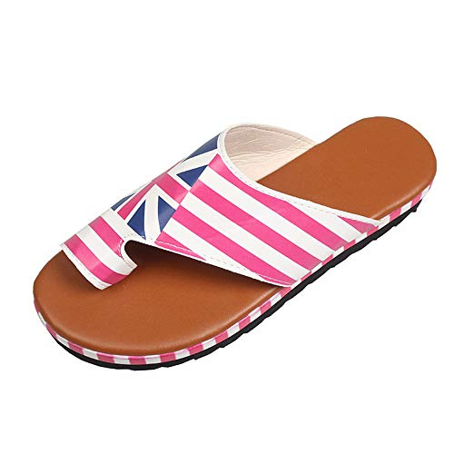 2020 Leer van Vrouwen Slippers Flat Color Summer Female Cool Flip Flops Comfort indooor Outside Beach Ladies Soft Slides Toevallig Schoenen groot,Stripes,42EU