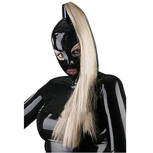 ZYAM Halloween Full Head Gummi Latex Fetisch erotische Einschränkungen Bondage m-ḁ^Ṥ-kè, 100% SM Latex m-ḁ^Ṥ-kè, (enthält Perücke)-XXL