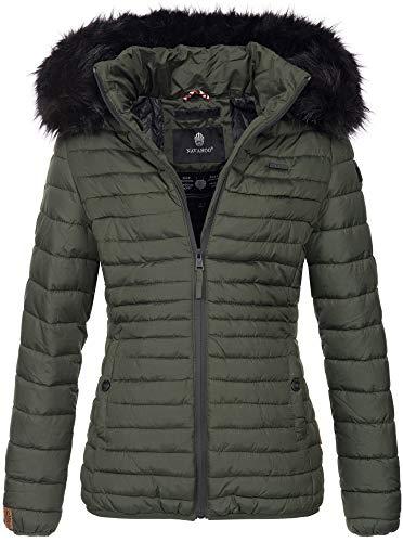 Navahoo Designer Damen Winter Jacke Steppjacke Stepp Winterjacke B655 [B655-Aran-Grün-Gr.L]