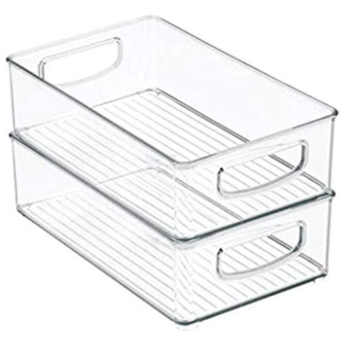 Heritan Cesta de plástico para cocina, armario, organizador de alimentos con asas, organizador para frutas