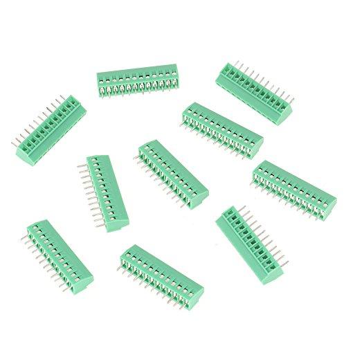 Conector de bloque de terminales universal verde de 12 pines, conector de bloque de terminales de tornillo, bloque de montaje de paso de 2,54 mm, reemplazo de baja frecuencia para cableado