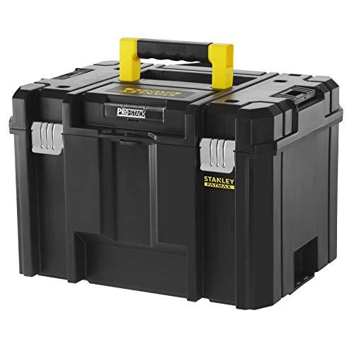 Stanley FMST1-71971 FatMax Pro-Stack tiefe Werkzeugbox (23L Fassungsvermögen, mit Metallschließen und herausnehmbarer Trage, zum Verstauen großer Maschinen, stapelbar, Schwarz