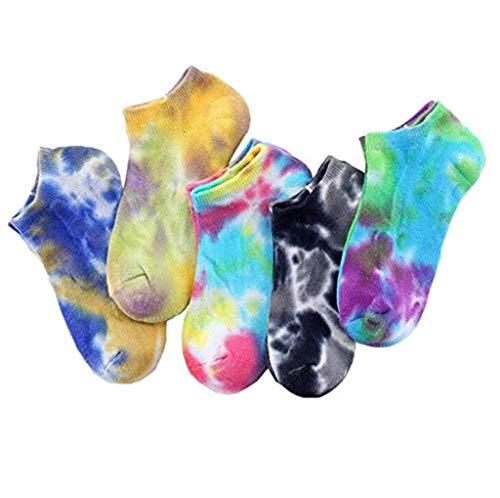 boogift - Calze da sci da uomo e da donna, in cotone con imbottitura, disponibili in diversi colori 5 paia di calzini batik. Taglia unica