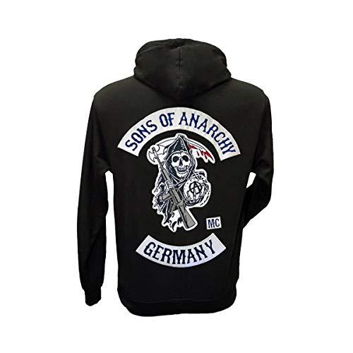 Sons of Anarchy Germany Kapuzenpullover mit originalgetreuen, aufgestickten Aufnähern, Größen S bis 3XL (L)