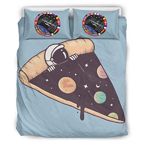 O5KFD & 8 De pizza van de NASA sprei European Style 3-delige set beddengoed en kussensloop - grappig astronaut zacht en comfortabel Boho sprei