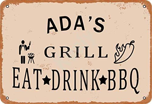 Keely Ada'S Grill Eat Drink BBQ Metall Vintage Zinn Zeichen Wanddekoration 12x8 Zoll für Kaffeebars Restaurants Pubs Man Cave Dekorativ