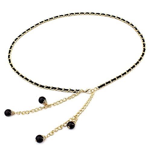 Joyería para mujer Cinturón de mujer en forma de pera de una sola capa de elevación de cadera de aleación de metal fina cadena de cintura (color: negro, tamaño: ajustable)