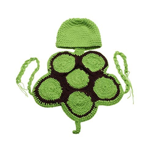 Goodplan Baby Infant Schildkröte Kostüm Schildkröte Kleidung Fotografie Prop Kleinkind Stricken Häkeln Tierkostüm mit Hut für Neugeborene Baby Green 1 Stück