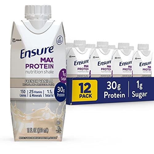 Ensure Max Protein Nutritional Shake with 30g of High-Quality Protein, 1g of Sugar, High Protein Shake, French Vanilla, 12 Count, 132 Fl Oz