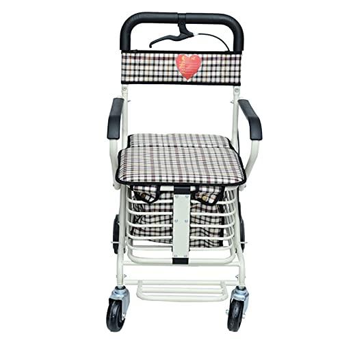 SXTYMV Andador para Ancianos Andador Plegable Andadores para Ancianos Andadores Adultos 4 Ruedas Andador para Ancianos con Asiento Andador con Frenos por PresióN