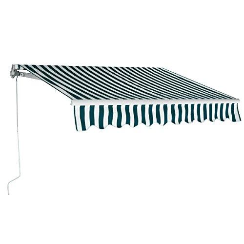 COSTWAY Toldo con Brazo Plegable de 3 x 2,5 Metros Toldo Manual Impermeable y Resistente a los Rayos UV Toldo para Balcón Terraza Puerta Ventana (Rayas)