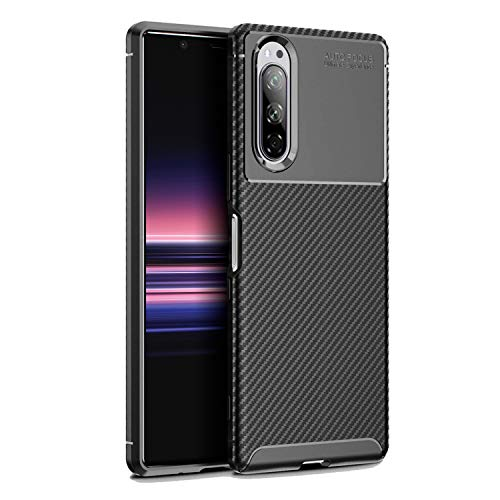Olixar for Sony Xperia 5 Carbon Fiber Case - Slim Cover TPU Non-Slip - Thin Protective Cover - Shockproof Bumper Drop Protection - Wireless Charging Compatible - Black