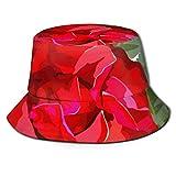 Gorras Sombrero de Pescador de Flor de Rosa roja Sombrero de Pesca, Sombrero de Pescador Sombrero de Sol de ala Ancha para Hombres y Mujeres