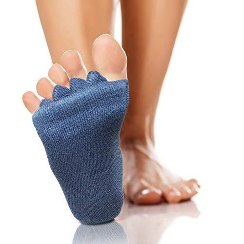 High Pulse Zehenspreizer Socken (2 Paar | Einheitsgröße) - Die sanfte Entspannung bei Hallux Valgus und Zehenfehlstellungen (2er Set Grau)