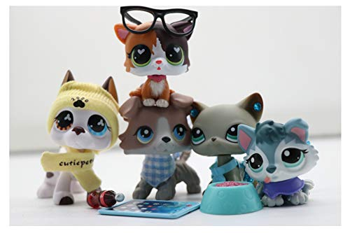 WOLFGIRL LPS Shorthair Cat 391 LPS Kitten 339 LPS Great Dane 577 LPS Collie 67 LPS Husky 2036 Dogs with Accessories Lot Figure Collection Kids Girls Boys Birthday Xmas Gift Set