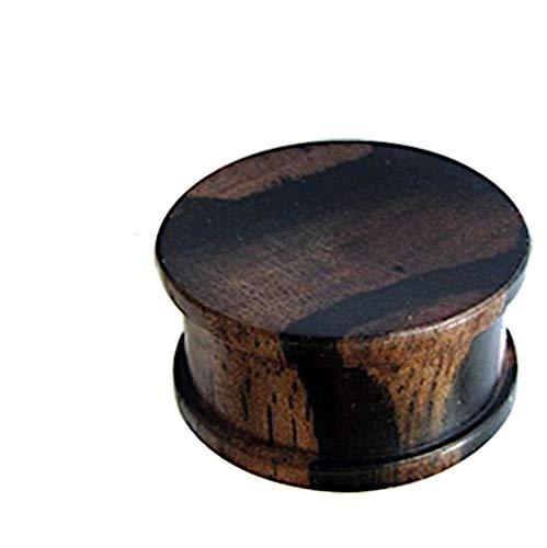 CHICNET Plug Flesh Tunnel Expander Dehner Ohr Piercing Lobe Tubes aus Tigerholz Holz, Ribbed Straight in schwarz braun, Damen Herren Unisex, Größen 5mm - 30mm