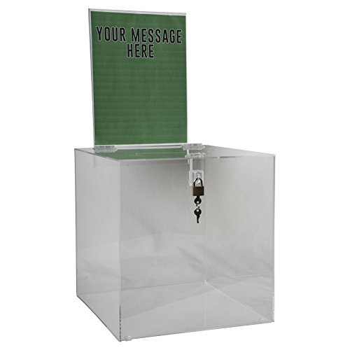 Clear-Ad - Acrylic Donation, Ballot, Raffle or Suggestion Box with Lock and Removable Sign Holder - Plastic Comment or Compaint Container - Plexiglass Multipurpose Box with Slot - Clear (12x12)