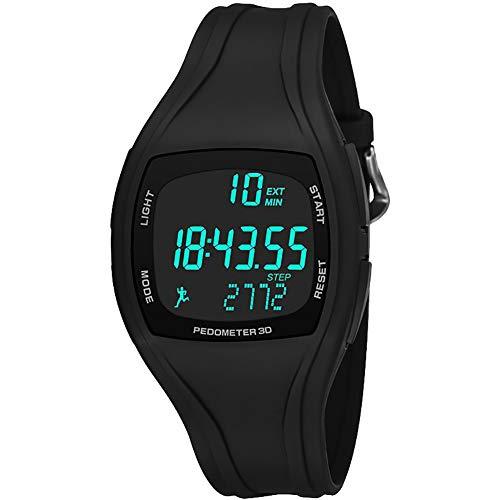 DERKOLY Digitale Armbanduhr für Herren, leuchtend, wasserdicht, Schrittzähler, Sport, Zeitaufzeichnung, Alarm, multifunktional, austauschbares Band