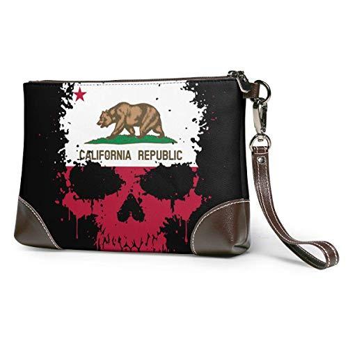 bolso de mano de cuero para mujer Bandera de calavera de California Monederos de cuero Carteras de embrague Carteras de teléfono Estuche de maquillaje Neceser de baño Estuche de cosméticos para viaje