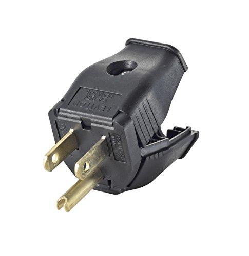 Leviton 3W101-E 2-Pole, 3 Wire Grounding Plug, Black