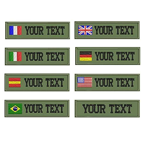 personnalisée Nom militaire Patch brodé, étiquette de nom personnalisé... Vert