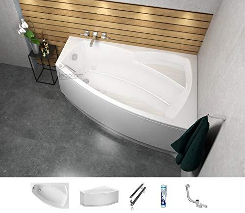 ECOLAM Badewanne Eckbadewanne Acryl Frida weiß 140x80 cm RECHTS + Schürze Ablaufgarnitur Ab- und Überlauf Automatik Füße Silikon Komplett-Set
