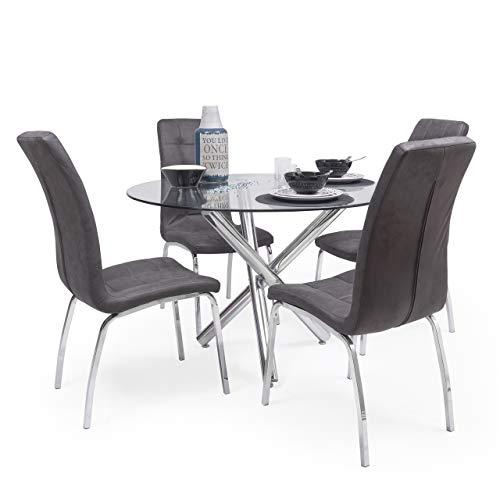 Conjunto de Comedor Brisa Mesa Redonda de Cristal de 110 cm de diámetro y 4 sillas de Polipiel y Patas de Acero (Gris Vintage)