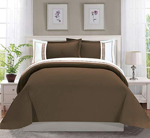 Elegant Comfort Luxury Super-Soft Coziest 1500 Thread Count Egyptian Quality 2-Piece Greek Embroidered Duvet Cover Set, (Insert Comforter Protector) Wrinkle-Free, Twin/Twin XL, Chocolate Brown/White