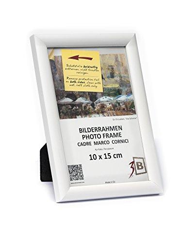 3B Marco de Fotos ULM 10x15 cm - Blanco - Marco de Madera, Foto, parojo y sobremesa con Vidrio de poliéster (lámina de...