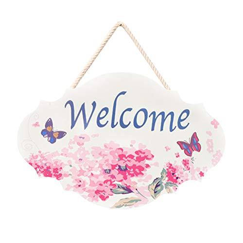 BESTOYARD Türschilder Welcome Blume Muster Holzschild zum Aufhängen Vintage Wandschild Türhänger Begrüßung Deko