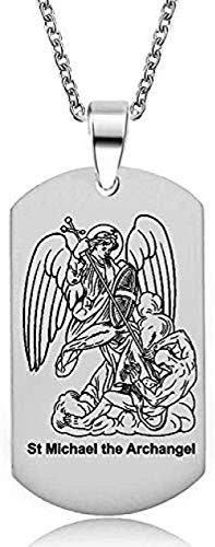 quanjiafu Collar El Arcángel Collar - Colgante De Medalla Religiosa De San Miguel De Acero Inoxidable De 1 Pulgada con 24 Cruces Collar Collar