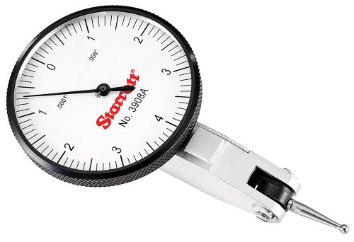 "Starrett 12333 Dial Test Indicator with Dovetail Mount and 2 Attachments, White Dial, 1.25"" Diameter, 0.030"" Graduation Range, 0.0005"" Graduation"