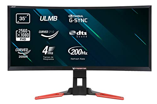 Acer Predator Z35 35 inch Widescreen Curved Monitor (21:9, VA, LED, 144 Hz, 4 ms, G-Sync v2, 100M:1, Euro/UK, Acer EcoDisplay) - Black/Red