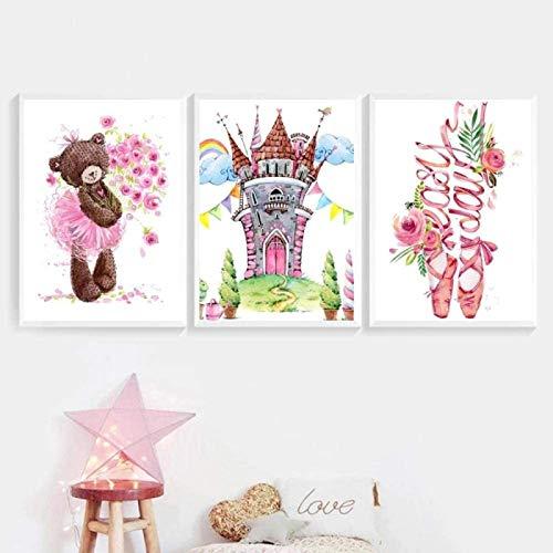 Imagen de póster 3 piezas 40x60cm Sin marco Princesa Ballet Zapato Teddy Bear Tower Arte de la pared Carteles nórdicos e impresiones Imágenes de pared Habitación de niña bebé Decoración del hogar