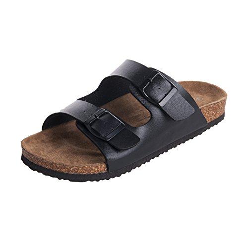 WTW Mens Arizona 2-Strap Cork Footbed Sandal, Black, 10