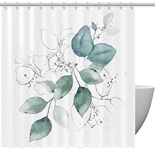 FURINKAZAN Akwarela zielone liście bukiet ziół zasłona prysznicowa z haczykami wodoodporna zasłona prysznicowa do łazienki