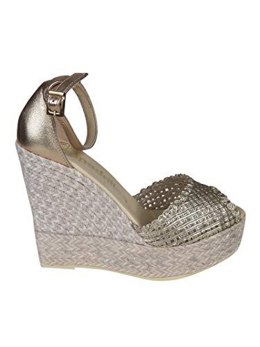 Luxury Fashion | Espadrilles Dames SUSANCORDELAPLATINO Goud Leer Sleehakken | Lente-zomer 20